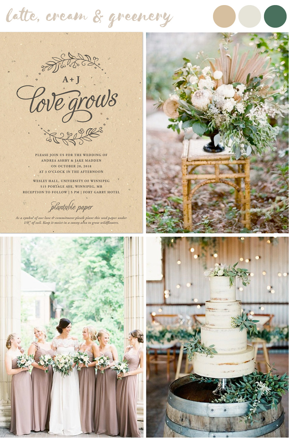 Find wedding color inspiration like this natural look of latte, cream and greenery for stylish and trendy summer weddings.