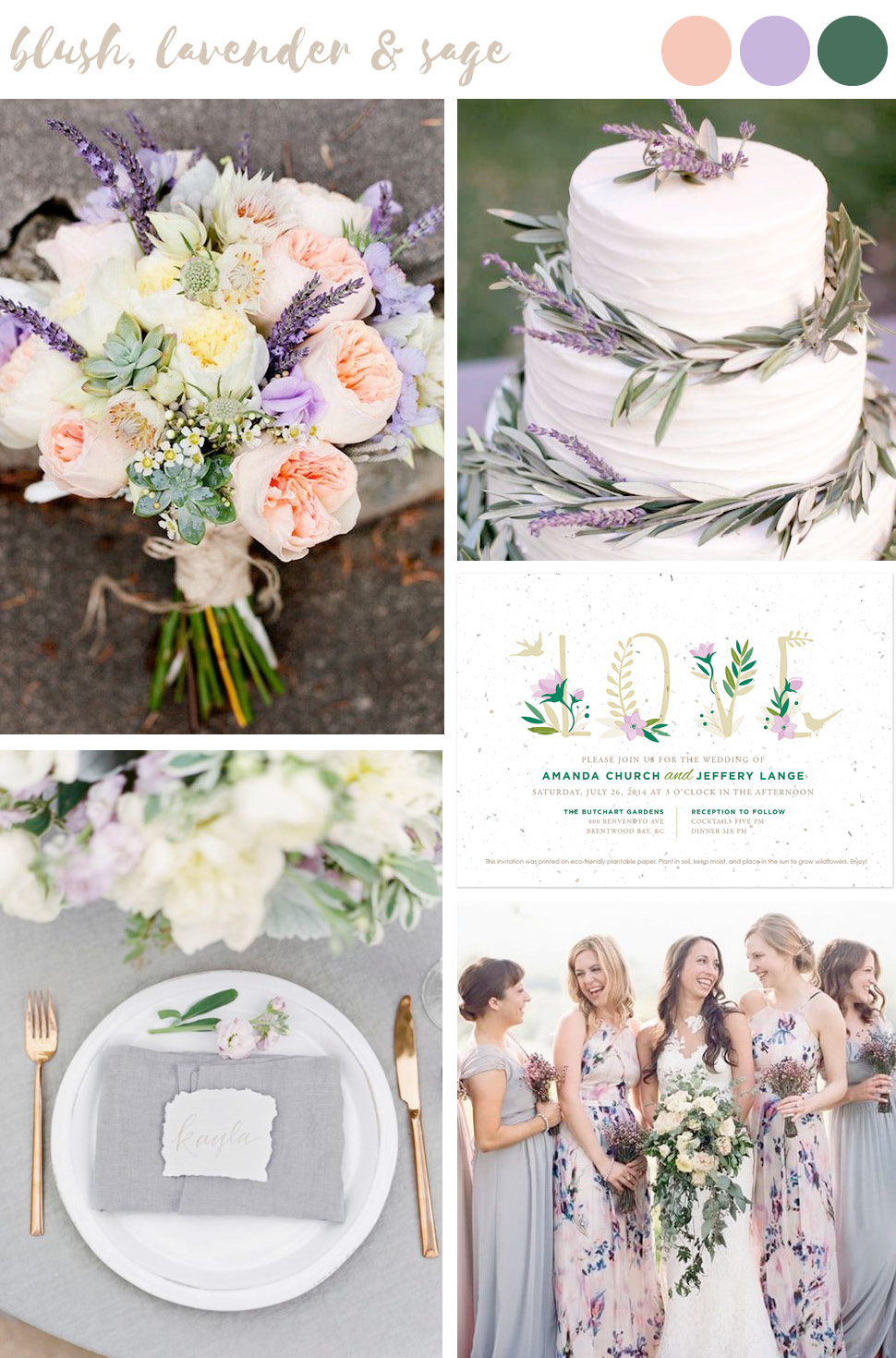 Find wedding color inspiration like this soft and femine palette of blush, lavender and sage green for stylish and trendy summer weddings.