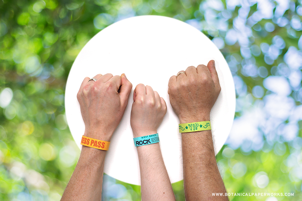 Seed Paper Wristbands are a smart waste-free alternative to plastic bands for eco-friendly summer events. See this and other ideas for gardening giveaways.